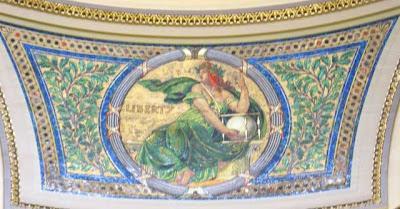 Mosaic of sitting Lady Liberty