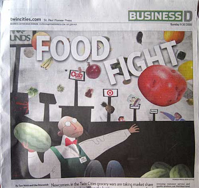 Collage and artwork of grocery clerks throwing food, headline Food Fight on angles amid the food