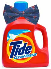 Red bottle of Tide detergent wearing a blue bowtie