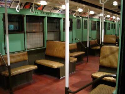 Interior of an antique subway car