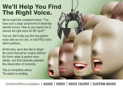 Ad with headline We'll help you find the right voice, over a picture of eyeless, smooth featured dummies with real open mouths Photoshopped onto each head