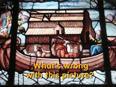 Stained glass window from the Chapel of St Etienne in Paris showing a unicorn in Noah's ark