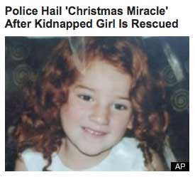Photo of curly-headed girl with headilne Police Hail 'Christmas Miracle' After Kidnapped Girl Is Rescued'