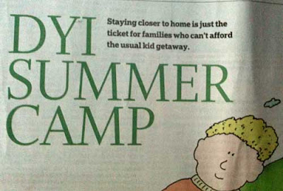 Newspaper headline reding DYI SUMMER CAMP