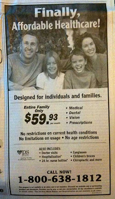 Ad with a smiling family and the headline, Finally, Affordable Healthcare!