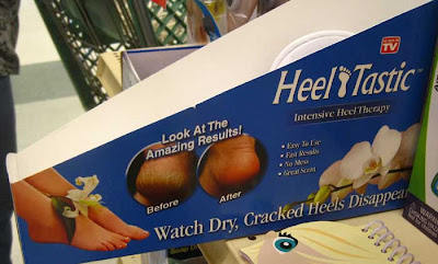 Cardboard box with the two images, plus headline Heel-Tastic