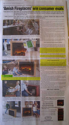 Full page ad headlined Amish Fireplaces win consumer evals