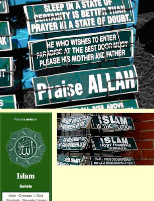 Several photos showing various Islamic bumper stickers in green with white type