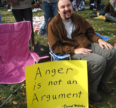 Anger is not an argument, Daniel Webster, black marker on yellow poster board