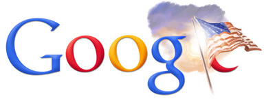 Google logo with American flag and shining sun