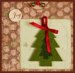 Handmade Christmas card with a pine tree on it