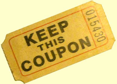 Yellow ticket reading Keep this Coupon