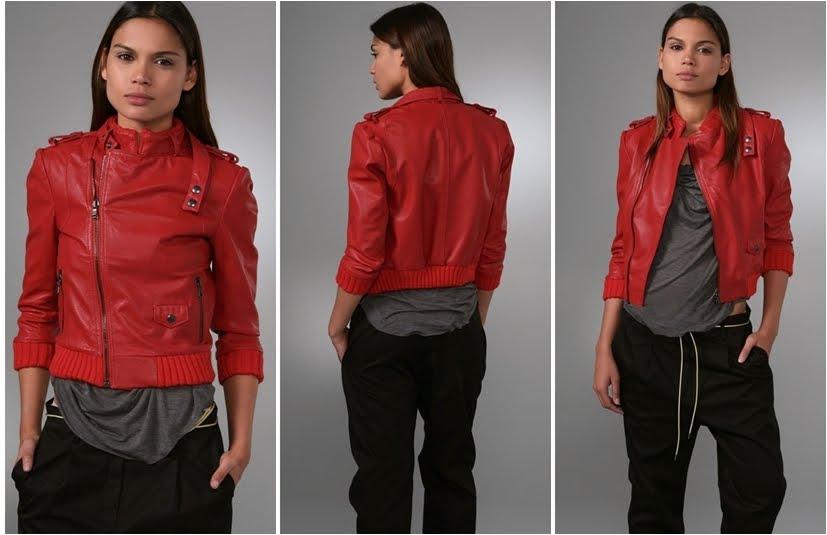 deri kırmızı ceket
