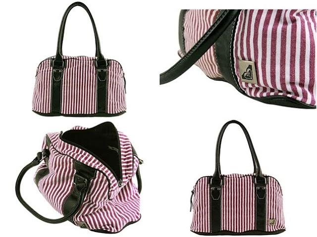 Roxy shoes Slam Bag  White Purple Striped  010601 tile - Roxy 2011 Bayan �anta Modelleri