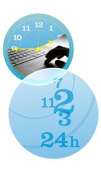 Imagen de circulos unidos entre si, uno representa a un  reloj con la foto de un portátil y en el otro solo se ve números sueltos