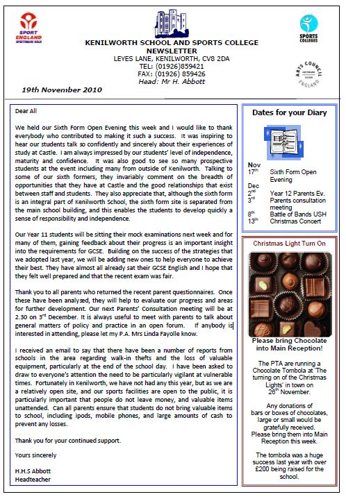 Kenilworth School Newsletter 19 November 2010