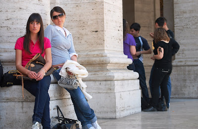young girls at Piazza di Repubblica