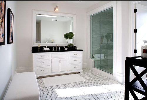 This life of ours bathroom renovation part two inspiration - Black marble bathroom countertops ...