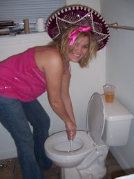 Hot Chicks Plunging The Toilet