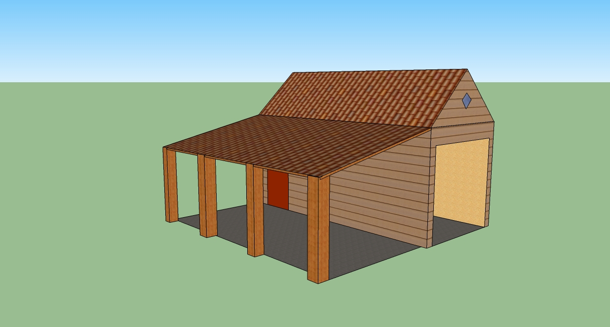 Shed plans free 16x16 attached carport building plans for Shed with carport attached