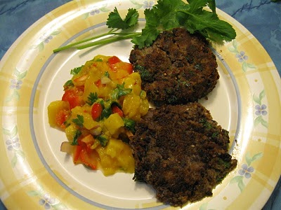 Ricepatty's Recipes: Black Bean Cakes with Mango Salsa