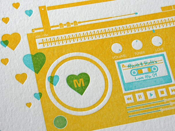 Boom Box Wedding Invite, Studio on Fire