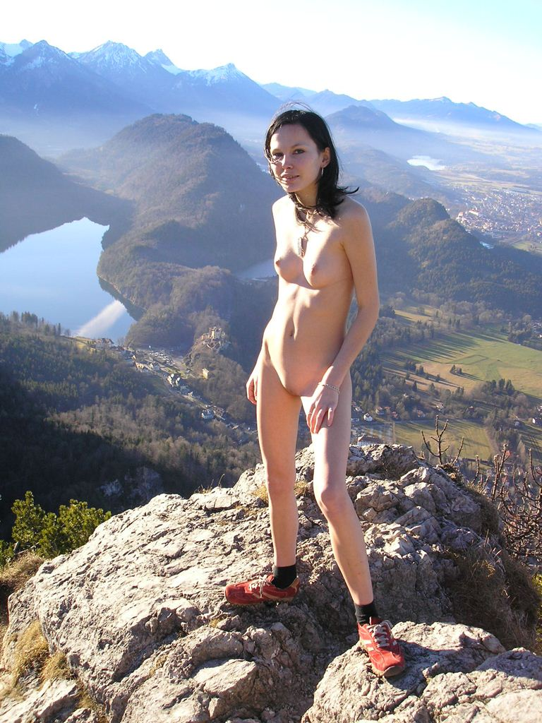 Nude female hikers