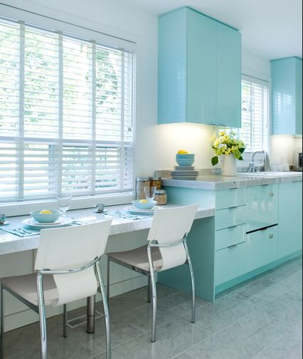 Tiffany blue in the kitchen for Tiffany blue kitchen ideas