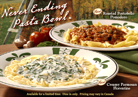 Darden Concepts, Owner Of The Olive Garden And Red Lobster Chain Of  Restaurants And Two Trademark Registrations For NEVER ENDING PASTA BOWL  (here And Here), ...