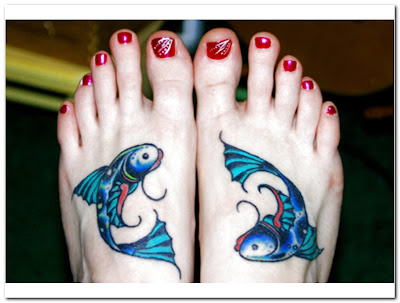 pisces tattoo, zodiac tattoos, fish tattoos, tattoo designs, foot tattoos,