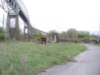rubble after cil shed burns at seaway international bridge