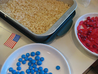 patriotic rice krispie treat flag
