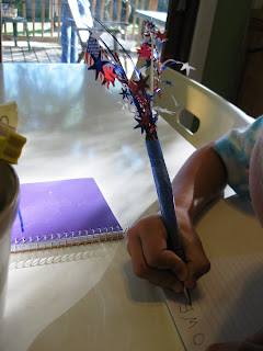july 4th funky sparkle flag pen