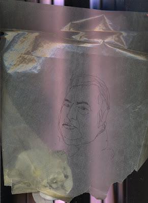 Portrait de l'humoriste Raymond Devos, dessin au trait noir sur fond violet.