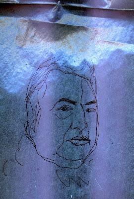 Portrait de l'humoriste Raymond Devos, dessin au trait noir sur fond parme