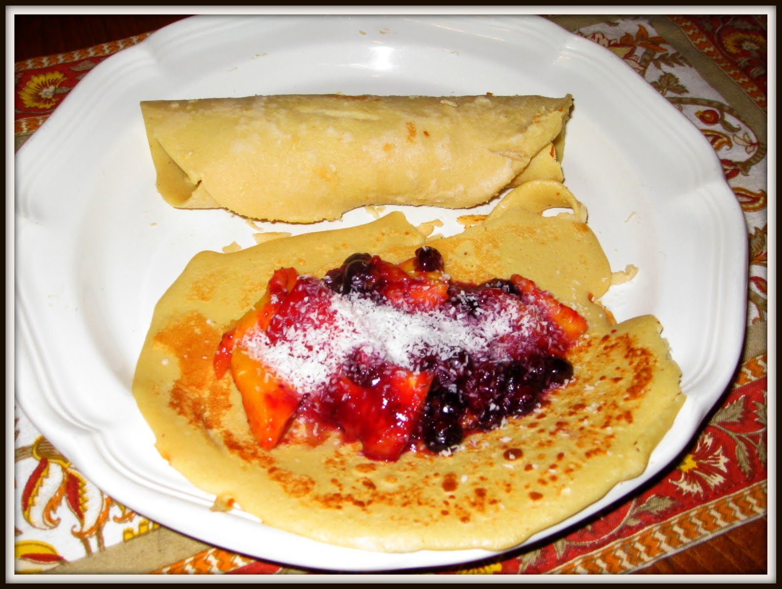CHOCOLATE & CROISSANTS: Tahitian Mango Coconut Blueberry Crepe