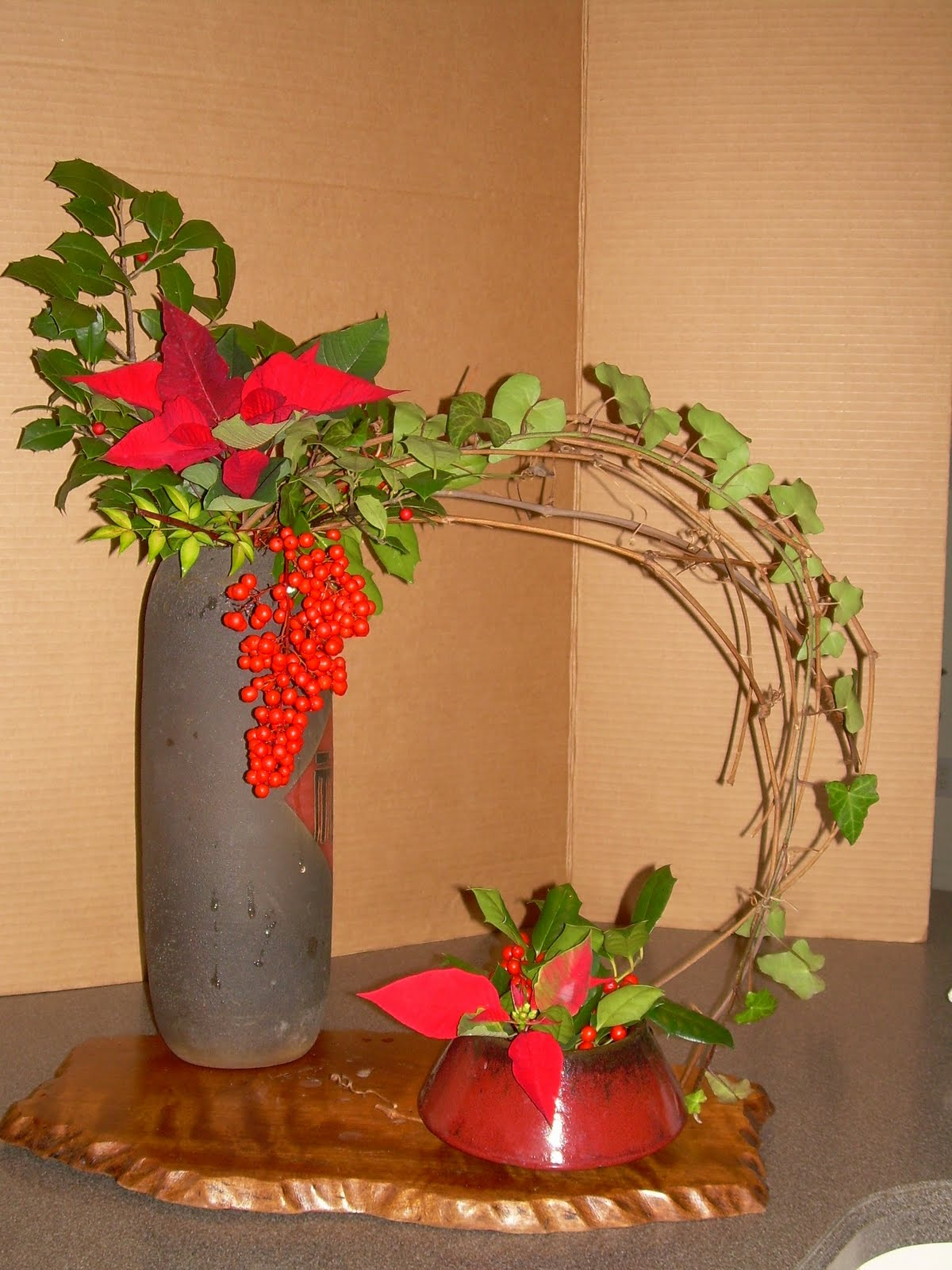 Orchids And Ikebana Two Or More Containers Merry Christmas: christmas orchid arrangements