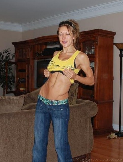 Fitness Girl with Hard abs flexing 2008. ABS flex 1