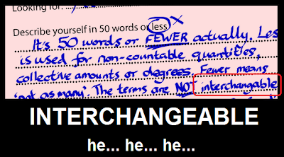 Interchangeable - 50 words or less
