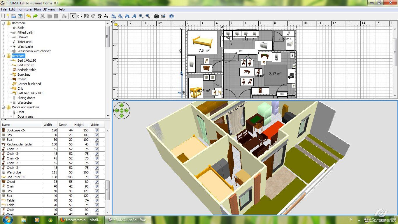 Software design rumah dengan Sweet Home 3D terbaru