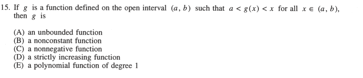 GRE Practice: GR9768.15: Bounded Function