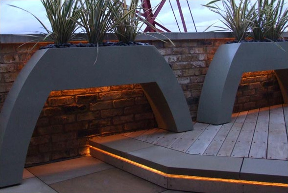 39 all about modern ideas 39 roof terrace garden design by for Terrace lighting