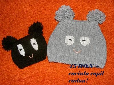 fes gri maro copii handmade lana acril model ursulet cu ochi