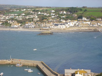 the view from Saint Michael's Mount to Marazion