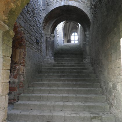 the main staircase at Castle Rising Castle