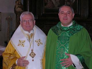 Basilica del Santo, Padova, il p. rettore con un vescovo ucraino greco cattolico