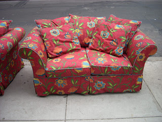 Upbeat Red Floral Loveseat W/ Chair U0026 Ottoman   SOLD!
