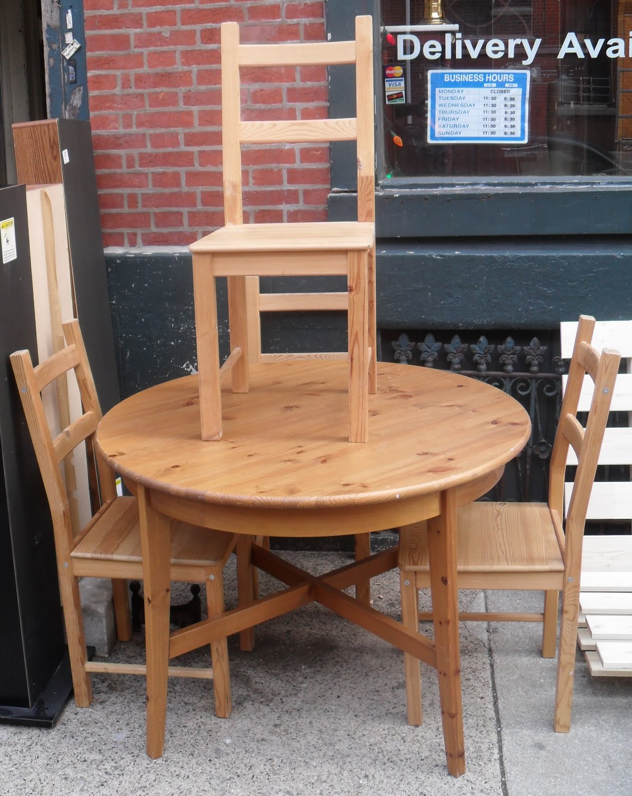 uhuru furniture collectibles solid pine table 4 chairs sold