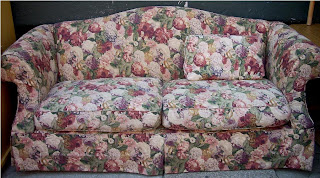 Uhuru furniture collectibles burgundy off white for 80s floral couch
