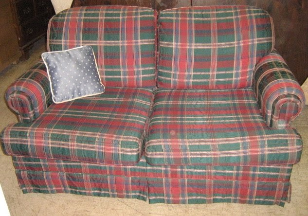 Uhuru Furniture Collectibles Red And Green Plaid Sofa And Loveseat Sold